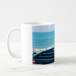 Mediterranean Beach and Fishing Boats, Sicily Coffee Mug