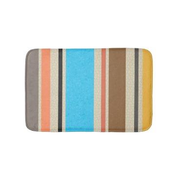 Beach Themed Mediterranean Beach Color Stripe Tile Pattern Bath Mat