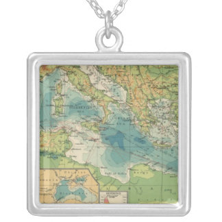 Mediterranean, Black Sea cables, wireless stations Silver Plated Necklace