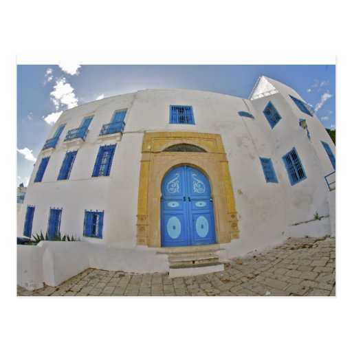 Mediterranean blue door postcard