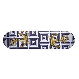 Mediterranean blue Greek Pattern Nautical Anchor Skateboard Deck