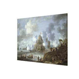 Mediterranean Castle under Siege from the Turks Canvas Print
