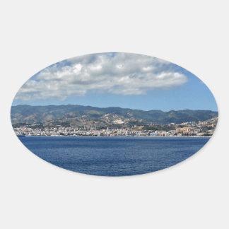 Mediterranean Coast Oval Sticker