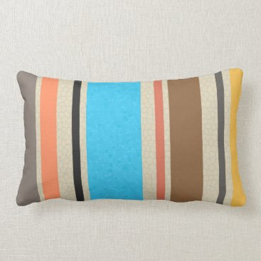 Beach Themed Mediterranean Colors Stripe Stained Glass Texture Lumbar Pillow