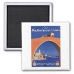 Mediterranean Cruises Ship Line Vintage Travel 2 Inch Square Magnet