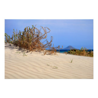 Mediterranean Dune Beach and Volcanic Island Posters