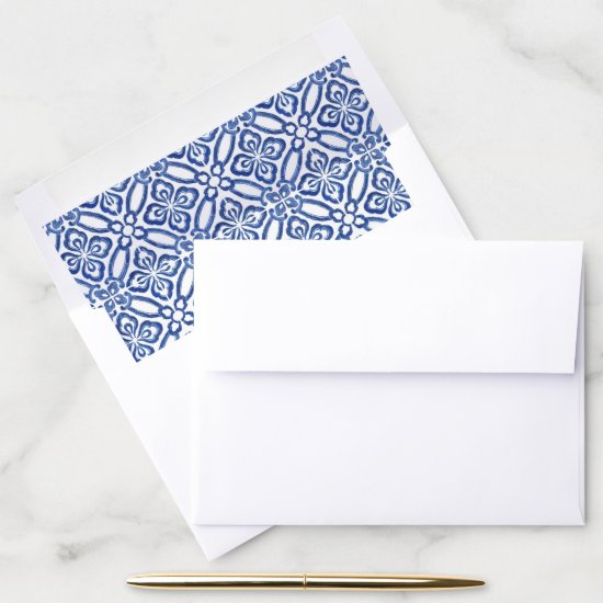 Mediterranean Inspired Cobalt Blue White Pattern Envelope Liner