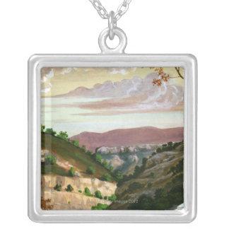 'Mediterranean Landscape' by Prosper Merimee Silver Plated Necklace