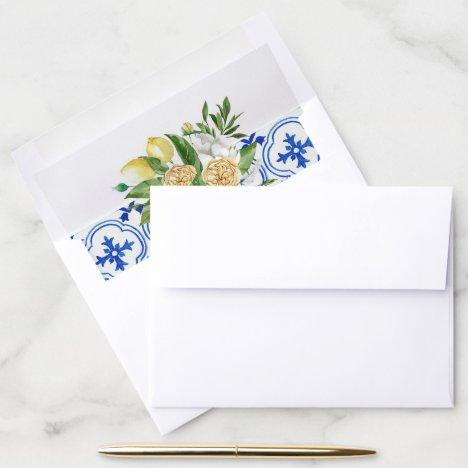 Mediterranean Lemon Floral Envelope Liner