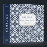 """Mediterranean Navy and White Bridal Shower Recipe 3 Ring Binder<br><div class=""""desc"""">Collect recipes for the bride to be and organize them in this pretty patterned binder with tons of personalization options! Chic navy blue binder features a Mediterranean inspired geometric pattern in navy, sky blue and crisp white. Customize the front with the bride to be&#39;s name and shower date, and add...</div>"""