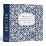 Mediterranean Navy and White Bridal Shower Recipe 3 Ring Binder