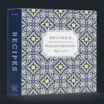 """Mediterranean Navy and Yellow Bridal Shower Recipe Binder<br><div class=""""desc"""">Collect recipes for the bride to be and organize them in this pretty patterned binder with tons of personalization options! Coastal chic binder features a Mediterranean inspired geometric pattern in navy blue and sunny golden yellow. Customize the front with the bride to be&#39;s name and shower date, and add customization...</div>"""