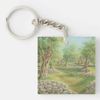 Mediterranean Olive Grove, Spain Acrylic Key Ring Double-Sided Square Acrylic Keychain