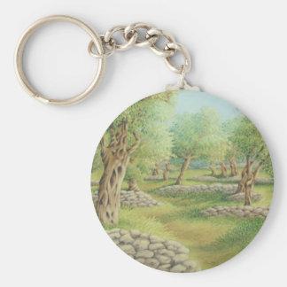 Mediterranean Olive Grove Spain in Pastel Key Ring