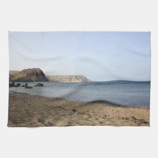 Mediterranean Sea and beach the Blacks, photograph Kitchen Towel
