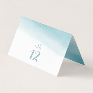 Beach Themed Mediterranean Sea Blue Ombre Table Numbers Place Card
