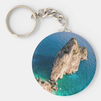 Mediterranean sea cliff key chain