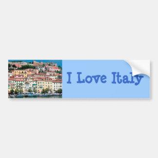 Mediterranean Sea Coast Italy Village and Harbor Bumper Sticker