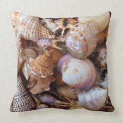 Mediterranean sea shells throw pillow