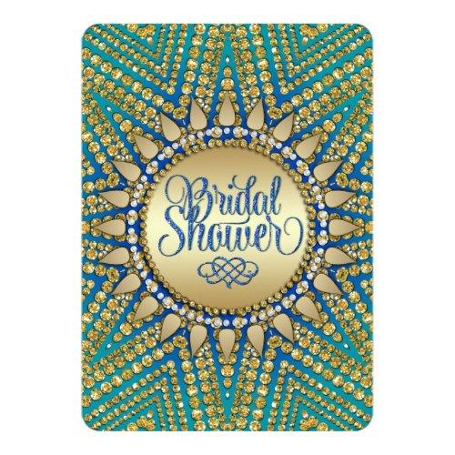 Mediterranean Sun Gold Glitter Bridal Shower 5x7 Paper Invitation Card