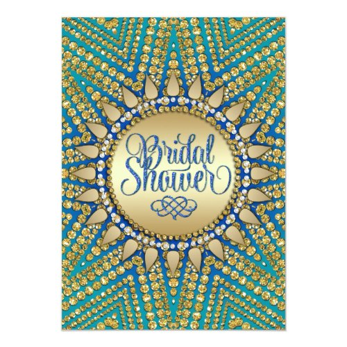Mediterranean Sun Gold Glitter Bridal Shower 5x7 Paper Invitation Card