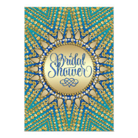 Mediterranean Sun Gold Glitter Bridal Shower Card