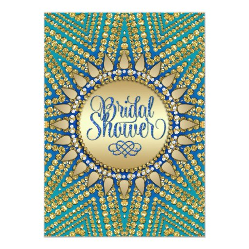 Mediterranean Sun Gold Glitter Bridal Shower Card