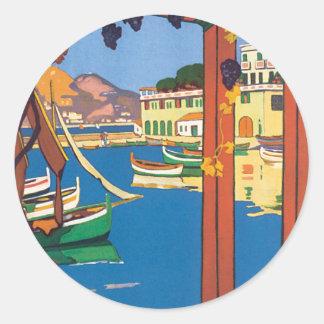 Mediterranean Terrace Classic Round Sticker