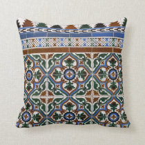 Mediterranean Tile Pattern Throw Pillow
