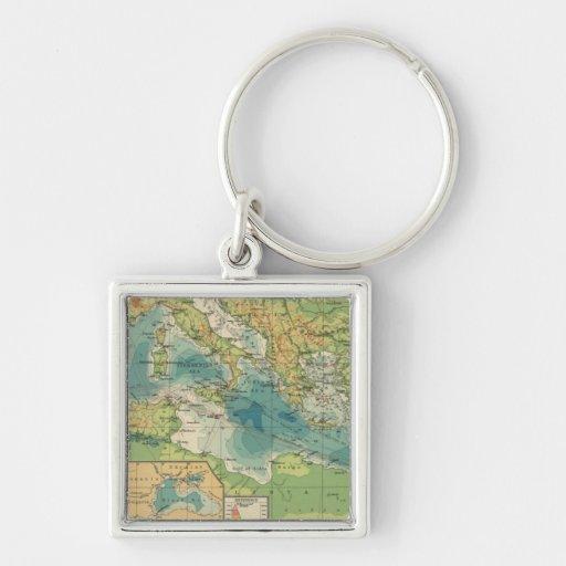 Mediterráneo, cables del Mar Negro, estaciones ina Llavero Cuadrado Plateado