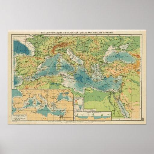 Mediterráneo, cables del Mar Negro, estaciones ina Póster