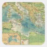 Mediterráneo, cables del Mar Negro, estaciones Pegatina Cuadrada