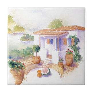 Meditteranean villa small square tile
