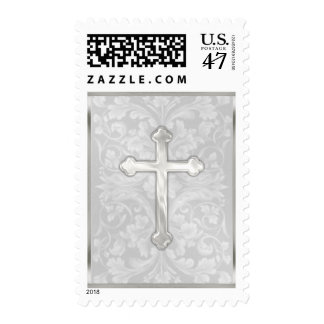 MEDIUM 26 Color Options Pearly Cross on Damask Postage
