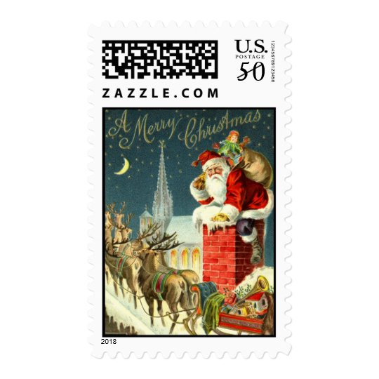 Medium Antique Christmas Santa Postage Stamp Zazzle Com