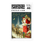 MEDIUM-Antique Christmas Santa Postage Stamp