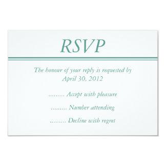 "Medium Aqua RSVP, Response or Reply Card 3.5"" X 5"" Invitation Card"