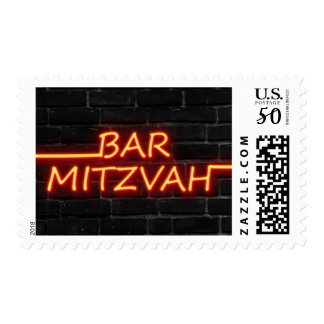 MEDIUM Bar Mitzvah Red Neon on Black Brick Postage