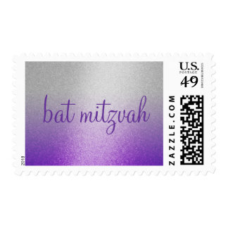 MEDIUM Bat Mitzvah Purple Shimmer Gradient Silver Postage