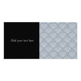 Medium Blue Grey and White Damask Card