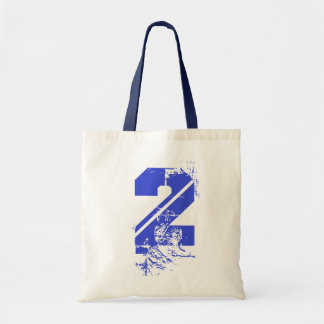 MEDIUM BLUE GRUNGE NUMBER 2 TOTE BAG
