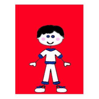 Medium Boy Stick Family Postcard