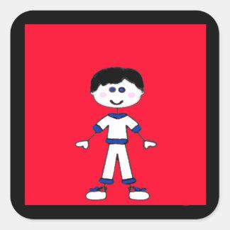 Medium Boy Stick Family Square Sticker