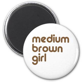 Medium Brown Girl 2 Inch Round Magnet