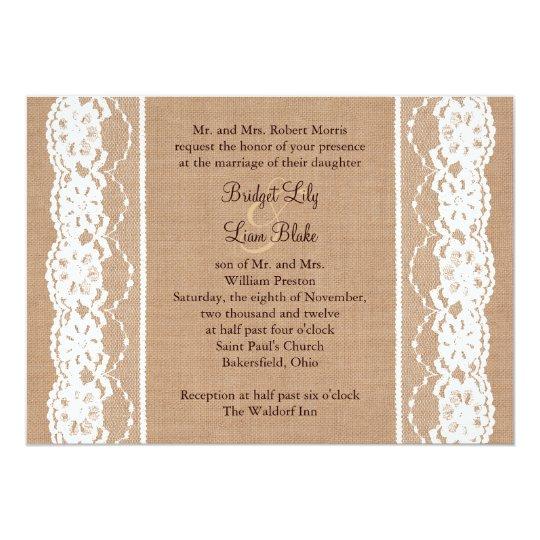 Medium Burlap and Vintage Lace Wedding Invite