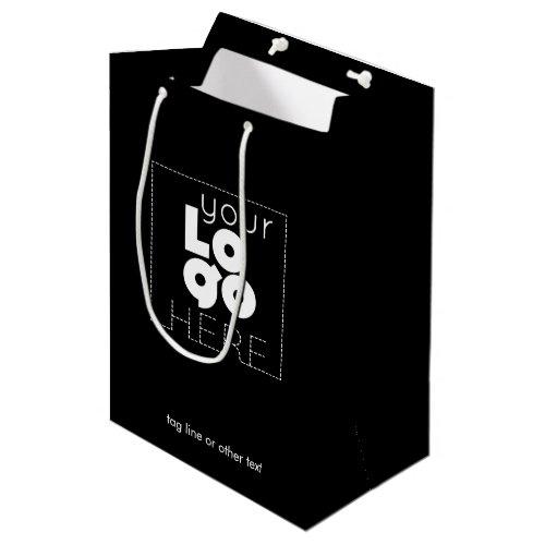 Medium Company Logo Black Paper Shopping Bag