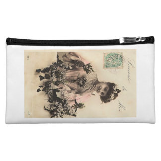 Medium cosmetics bag with vintage image of lady
