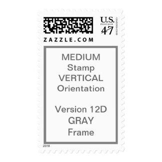 MEDIUM Custom Postage Vertical GRAY Frame V12D