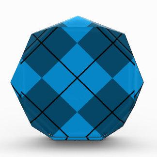 Medium & Dark Blue Argyle Acrylic Award