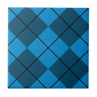 Medium & Dark Blue Argyle Ceramic Tile